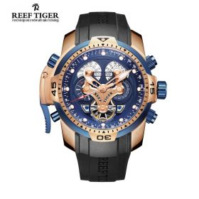 Aurora Concept  Rose Gold Case Blue Dial Black Rubber Complicated Watch