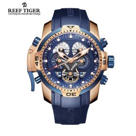 Aurora Concept  Rose Gold Case Complicated Dial Blue Rubber Watch
