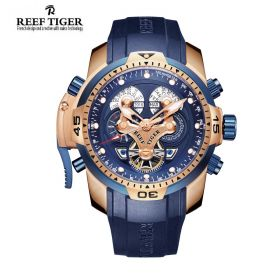 Aurora Concept  Rose Gold Case Blue Dial Blue Rubber Complicated Watch