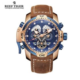 Aurora Concept  Rose Gold Case Blue Complicated Dial Brown Leather Watch