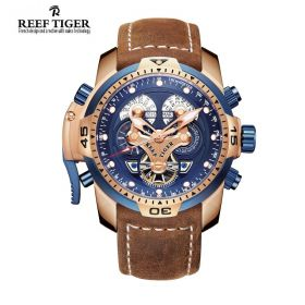 Aurora Concept  Blue Complicated Dial Rose Gold Case Brown Leather Watch