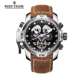 Aurora Concept  Stainless Steel Case Black Complicated Dial Brown Leather Watch