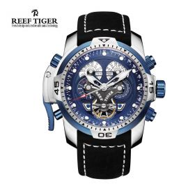 Aurora Concept  Steel Case Blue Complicated Dial Black Leather Watch