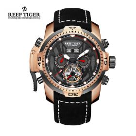 Aurora Transformer Black Dial Black Leather Rose Gold Case Complicated Watches RGA3532-PBBLR