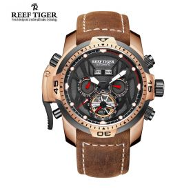 Aurora Transformer Black Dial Brown Leather Rose Gold Case Complicated Watches RGA3532-PBSR