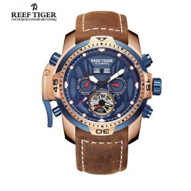 Aurora Transformer Blue Dial Brown Leather Rose Gold Case Complicated Watches RGA3532-PLSR