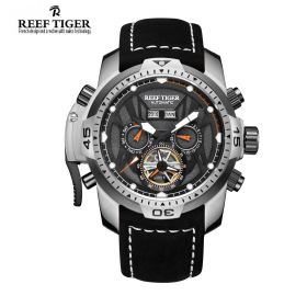 Aurora Transformer Black Dial Black Leather Steel Case Complicated Watches RGA3532-YBBLO
