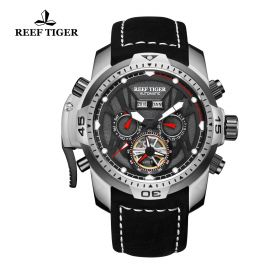Aurora Transformer Black Dial Black Leather Steel Case Complicated Watches RGA3532-YBBLR