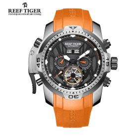 Aurora Transformer Black Dial Orange Rubber Steel Complicated Watches RGA3532-YBBR