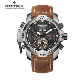 Aurora Transformer Black Dial Brown Leather Steel Case Complicated Watches RGA3532-YBRO