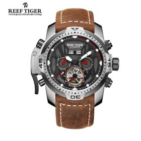 Aurora Transformer Black Dial Brown Leather Steel Case Complicated Watches RGA3532-YBSR