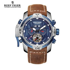 Aurora Transformer Blue Dial Brown Leather Steel Case Complicated Watches RGA3532-YLSR