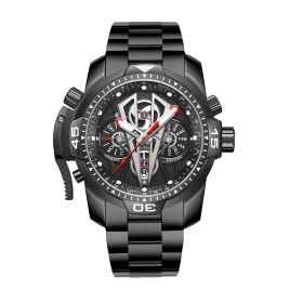 Aurora Concept II Complicated Dial Black Steel Case Men Mechanical Bracelet Waterproof Watches RGA3591-BBB