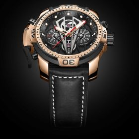 Aurora Concept II Black Complicated Dial Rose Gold Case Black Leather Watches RGA3591-PBBB