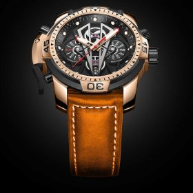 Aurora Concept II Black Complicated Dial Rose Gold Case Brown Leather Watches RGA3591-PBBC