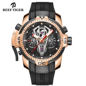 Aurora Concept II Rose Gold Case Black Complicated Dial Sport Watches RGA3591-PBGC