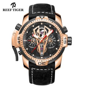 Aurora Concept II Rose Gold Case Black Complicated Dial Black Leather Watches RGA3591-PBGB