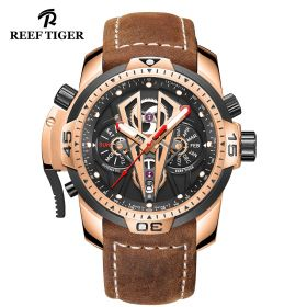 Aurora Concept II Rose Gold Case Black Complicated Dial Brown Leather Watch
