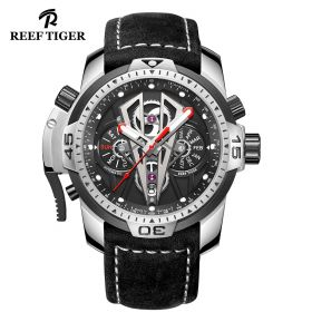Aurora Concept II Stainless Steel Case Black Complicated Dial Black Leather Watches RGA3591-YBB