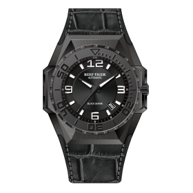 Reef Tiger/RT Men Sports Watches All Black Automatic Mechanical Watch Military Watches Leather Strap GA6903-B