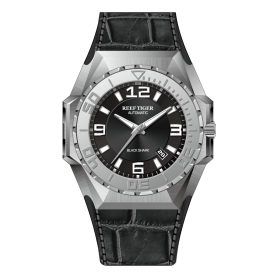 Reef Tiger/RT Men Sports Watches Steel Automatic Mechanical Watch Military Watches Leather Strap RGA6903-YL