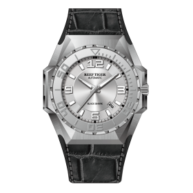 Reef Tiger/RT Men Sports Watches Steel Automatic Mechanical Watch Military Watches Leather Strap RGA6903-YWB