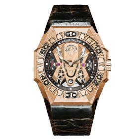 Aurora Black Shark COMMON Rose Gold Automatic Mechanical Skeleton Leather Watch RGA6912-PPWL