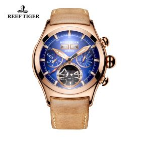 Aurora Air Bubble II Rose Gold Blue Dial  Automatic Mens Watch