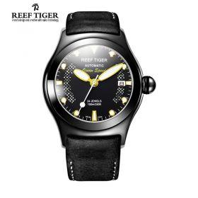 Aurora Ocean Speed  Black Dial Yellow Dot Markers PVD Men's Watch