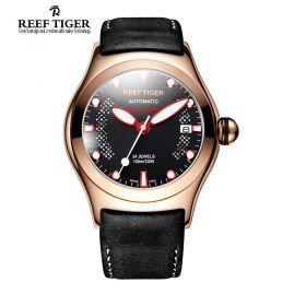 Aurora Ocean Speed Rose Gold Black Dial Brown/Black Leather Strap Watch