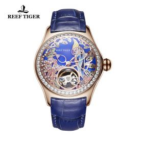 Aurora Parrot Rose Gold Diamonds Blue Dial Blue Leather Strap Watch