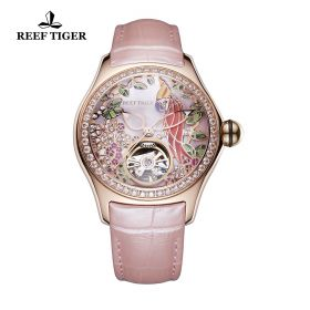 Aurora Parrot Rose Gold Diamonds Pink Dial Pink Leather Strap Watch