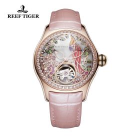 Aurora Parrot Rose Gold Diamonds White Dial Pink Leather Strap Watch
