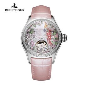 Aurora Parrot Steel Diamonds Pink Dial Pink Leather Strap Watch