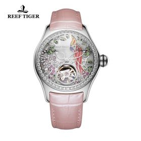 Aurora Parrot Steel Diamonds White Dial Pink Leather Strap Watch