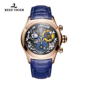 Aurora Air Bubble Rose Gold Skeleton Dial Blue Leather Strap Watch