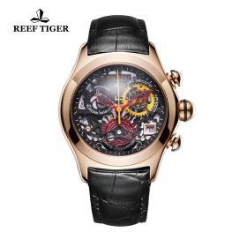 Aurora Air Bubble Rose Gold Skeleton Dial Leather Strap Watch