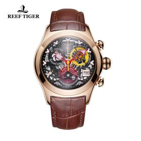 Aurora Air Bubble Rose Gold Black Skeleton Dial Leather Strap Watch