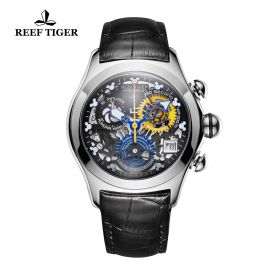 Aurora Air Bubble Steel Skeleton Dial Leather Strap Watch