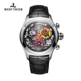 Aurora Air Bubble Steel Black Skeleton Dial Leather Strap Watch