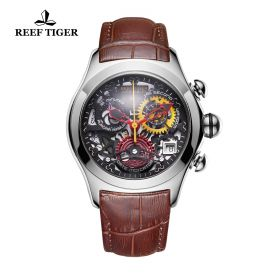 Aurora Air Bubble Steel Skeleton Dial Black Leather Strap Watch