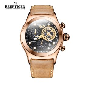 Aurora Dragon Black/Yellow Dial  Rose Gold Case Quartz Watch