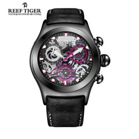 Aurora Big Bang Skeleton Dial  Black Leather  PVD Men's Chrono  Watch