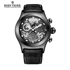 Aurora Big Bang Skeleton Dial Black Inner Bezel Black Leather Strap PVD Watch