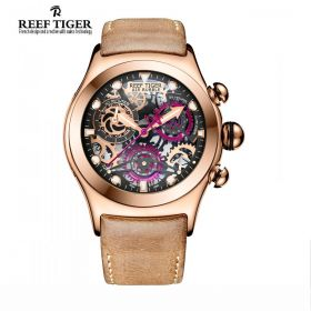 Aurora Big Bang Skeleton Dial Brown Leather Rose Gold Skeleton Dial Chrono Watch