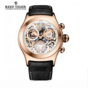 Aurora Big Bang Skeleton Dial Rose Gold Black/Brown Leather Men's Watch
