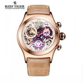 Aurora Big Bang Skeleton Dial Dot Markers Brown Leather Strap Mens Watch