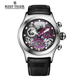 Aurora Big Bang Skeleton Dial Black Inner Bezel Steel Men's  Chrono Watch