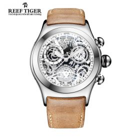 Aurora Big Bang Skeleton Dial White Inner Bezel Brown Leather Strap Steel Watch
