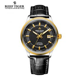 Classic Imperator Black Dial Black Leather Men's Automatic Two Tone Watch